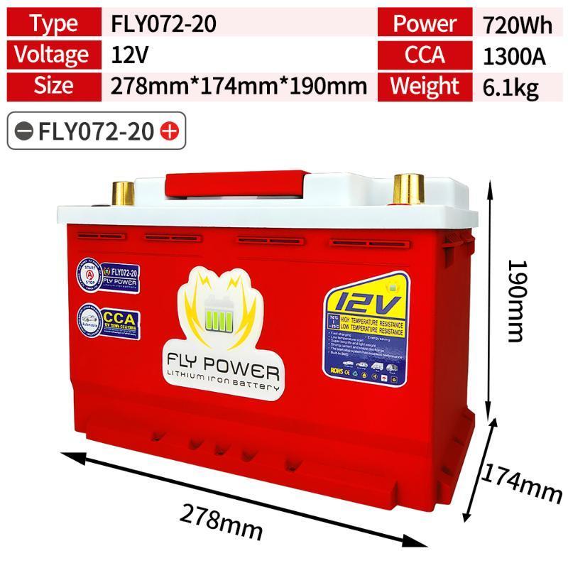 FLYL072-20 12V 720Wh CCA1300A LiFePO4 bateria para a bateria de ferro do carro de lítio para arranque do motor do carro BMS com BMS equilibradas