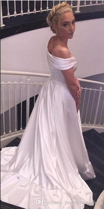 vestidos formais 2020 elegantes Off the Shoulder Vestido Ruched Zipper até Longo Prom Party Vestidos Trem da varredura Cheap Custom Made