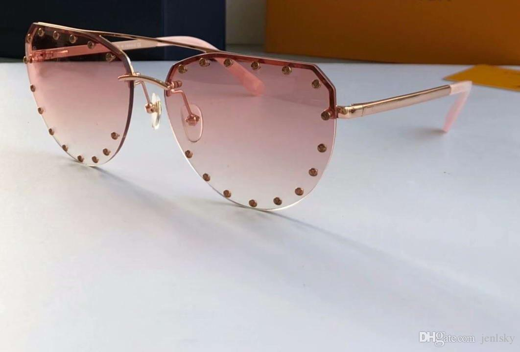 Caja de oro gafas de sol sombreado gafas fiesta rosa gradiente Sonnenbrille Studs Las gafas de sol Moda Mujeres NUEVO WTH METAL FCQBP