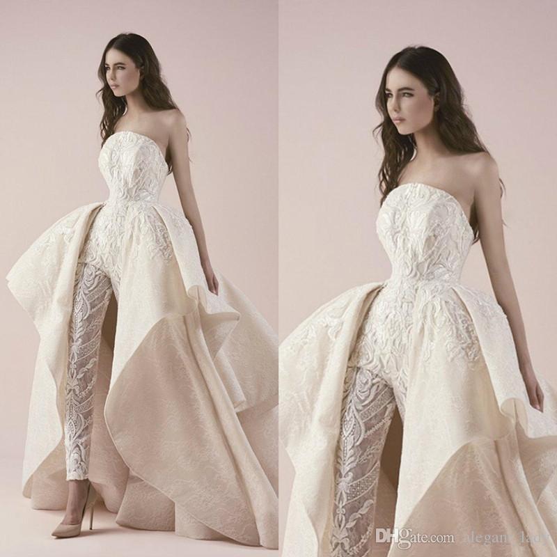 Saiid Kobeisy 2019 Wedding Dresses Strapless Jumpsuits Lace Applique With Detachable Train Bridal Gowns Pants Chapel robe de mariée