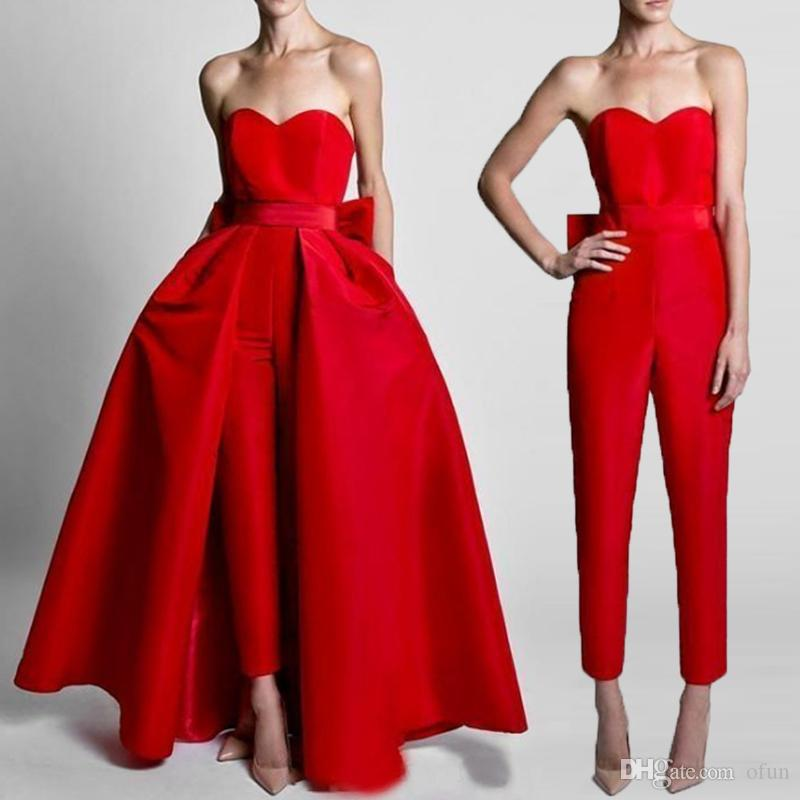 2019 Fashion Red Jumpsuits Sweetheart bodenlangen Bow Sash Abendkleider mit abnehmbarem Rock Formal Party Gown