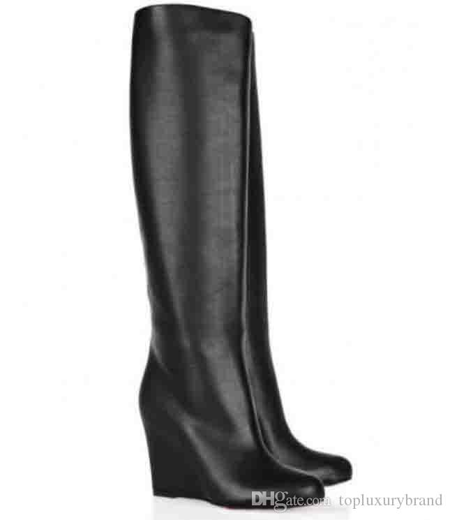 브랜드 디자이너 여성용 하이힐 펌프스 레드 하단 부츠 무릎 위 쐐기 롱 부츠 제피타 여성 부츠 블랙 레드