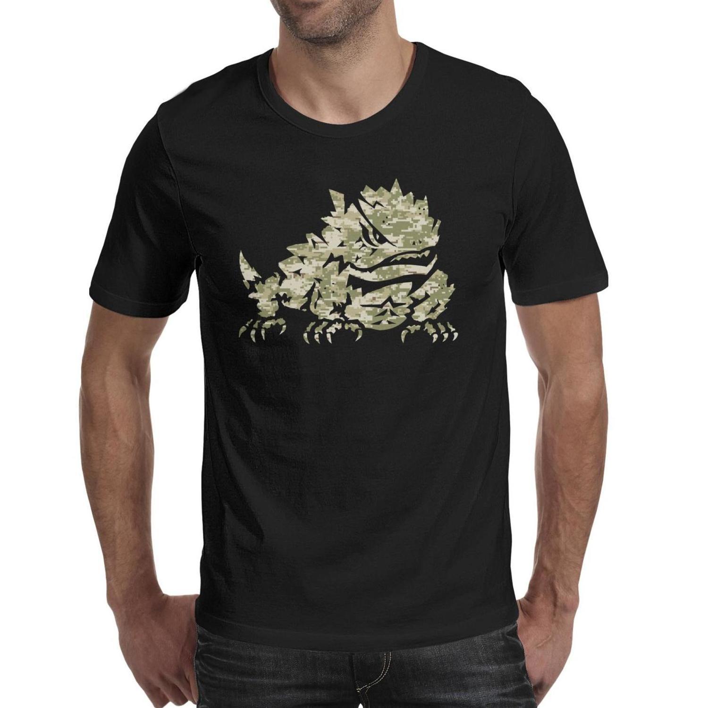 رجل طباعة TCU مقرن الضفادع التمويه كرة القدم شعار أسود تي شيرت الهيب هوب مضحك عارضة أمريكية الذهب كور دخان ليوبارد طباعة