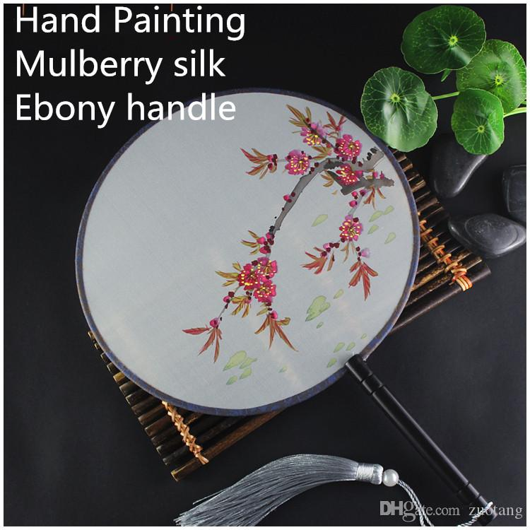 Hand painting Round Craft Gift Fan Ladies Decorative Hand Fans Vintage Chinese Mulberry Silk Fan Dance Costume Prop Handle Fan