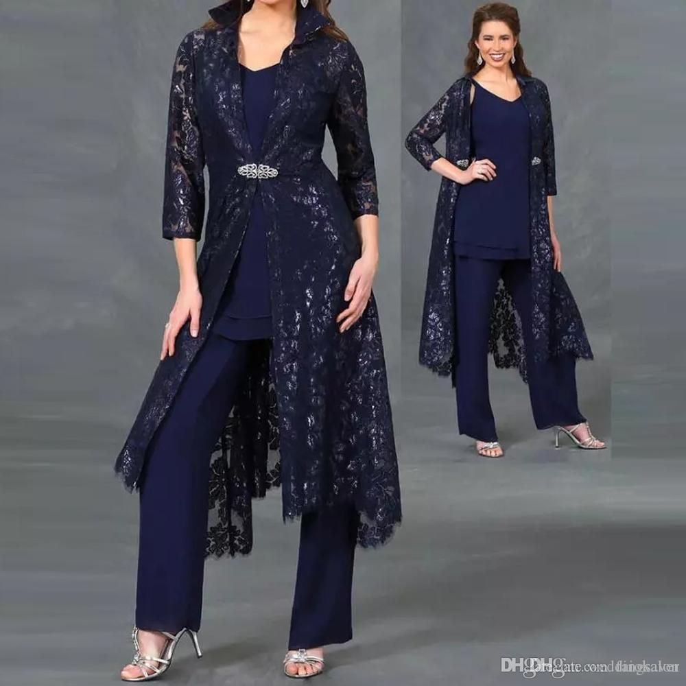 Plus Size Three Pieces Mother Of The Bride Pant Suits V Neck Sequined Lace  Ankle Length Jacket Formal Dress Ladies Outfit Mother Of The Bride Dresses  ...