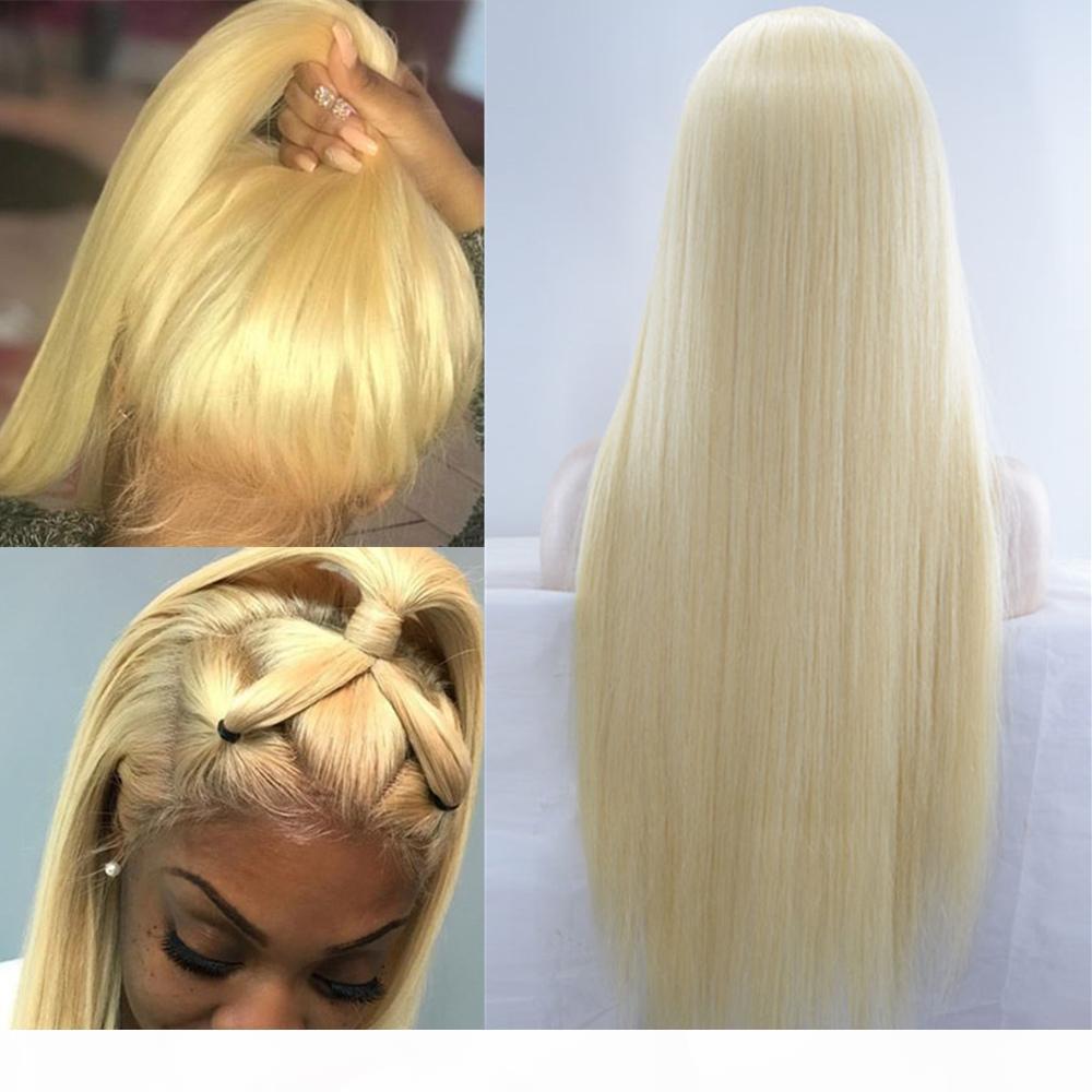 A # 613 Rubio completa del frente del cordón pelucas de cabello humano 613 Rubio Pre desplumados encaje pelucas de pelo recto brasileño de la Virgen transparente 130% Densidad