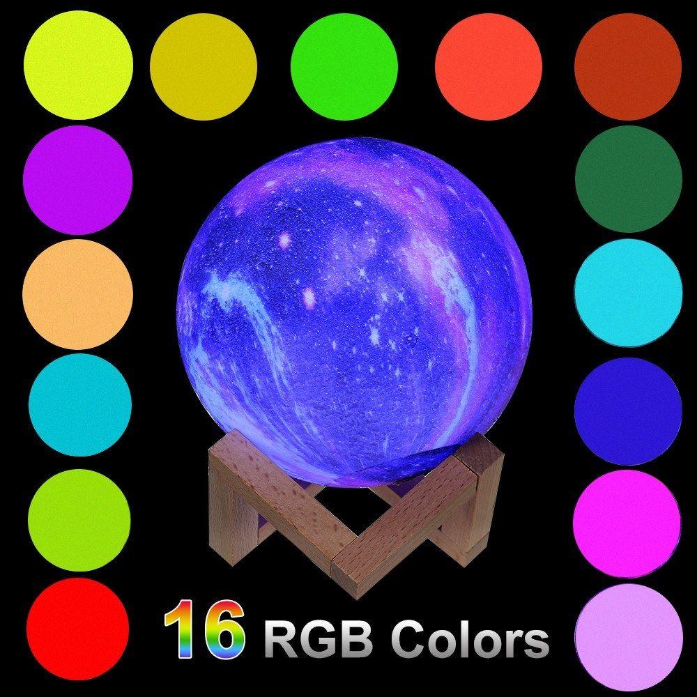3D طباعة ستار القمر مصباح LED ليلة الخفيفة 16RGB تغير لون الجدول مكتب نوم السرير مصابيح التحكم باللمس بقيادة ضوء الليل لعيد الميلاد الرئيسية