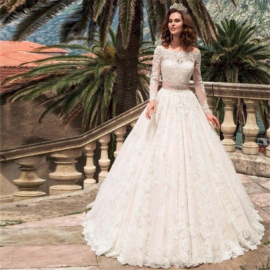Турция Шея лодки в линию Задесяная страна Западные свадебные платья Vestido de Nooiva Smples с длинным рукавом кружева Applique Бисероплетение Sash Свадебные платья