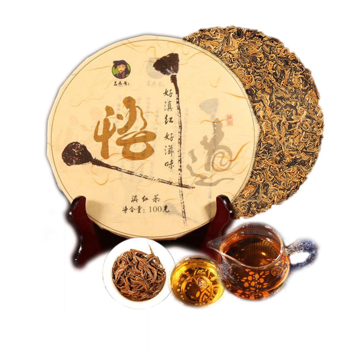 100g preto orgânico chá chinês Yunnan Mini bolo ouro Buds Dianhong Chá Vermelho Health Care New Cozido Promoção Food Green Tea