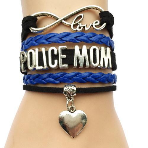 Polícia Mãe Multi Layered Couro Trançado Duplo Coração Charme Handmade Com Mom infinito Pulseira