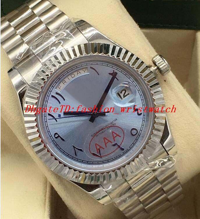 Luxusuhr 2 Style Platinum 41mm Ice Blue Arabisch Rare Dial kannelierte Lünette Automatik Mode-Marken-Männer Uhr-Armbanduhr