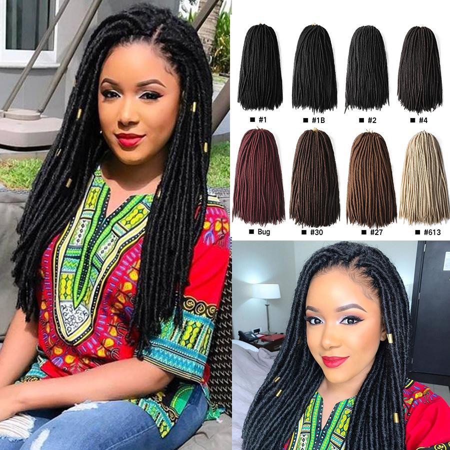 18 inch Dreadlocks Hair Extensions Synthetic Braiding Hair Faux Locs Braids Hair Bundles 18 Strands/Pack african Havana mambo twist