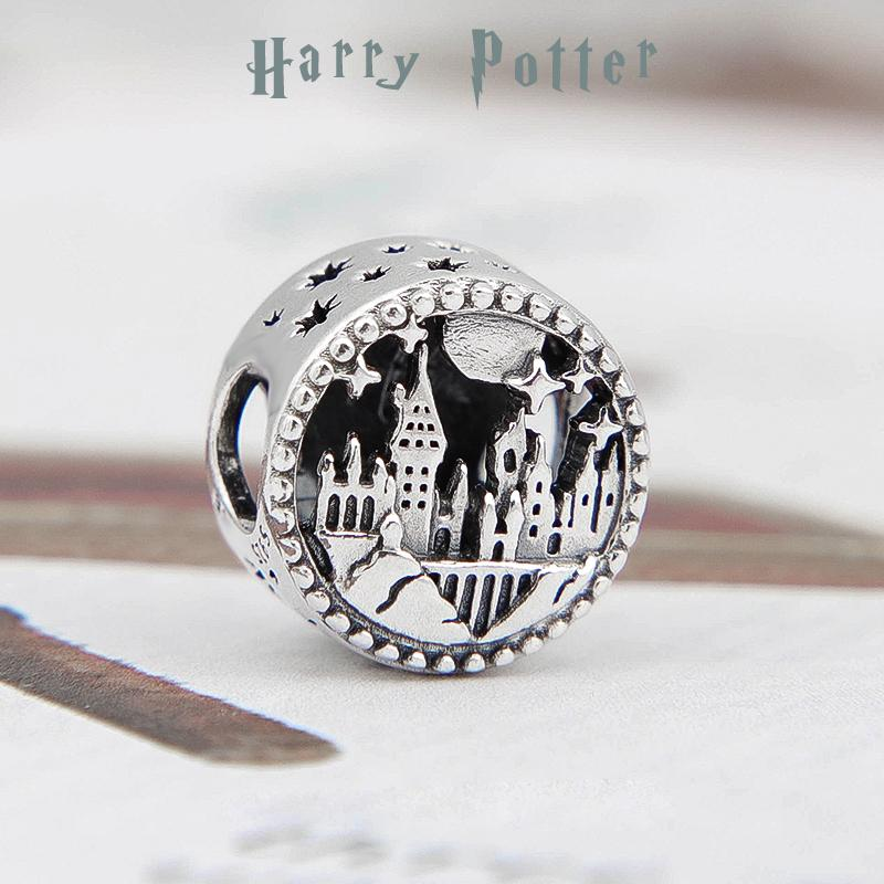 2020 Release S925 Sterling Silver Harry potter school of witchcraft and wizardry Charm beads Fits European Pandora Bracelets Necklace