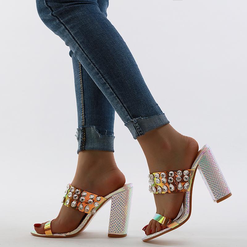 European and American fashion box luxury shiny crystal beaded rhinestone sandals block high heels, female designer high heels slideshow heel