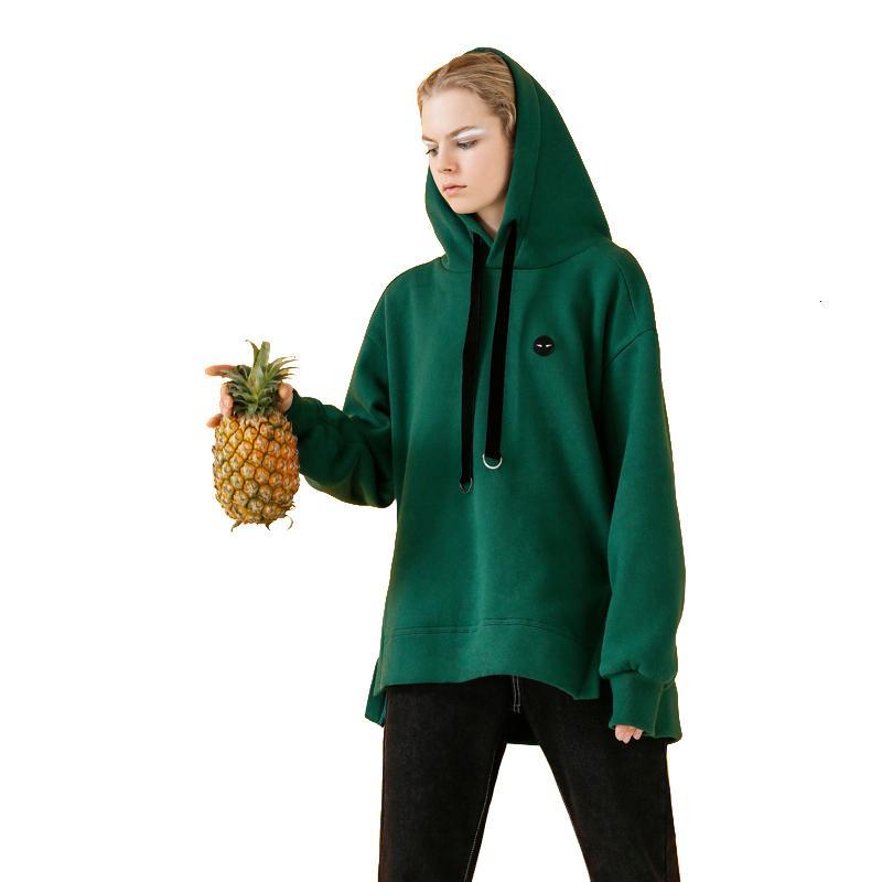 Kadınlar Sonbahar Casual Nakış Gevşek Sevgilisi Stil Fleece Kazaklar Bayan Yeşil Kapüşonlular V191028 için Toyouth Siyah Tişörtü