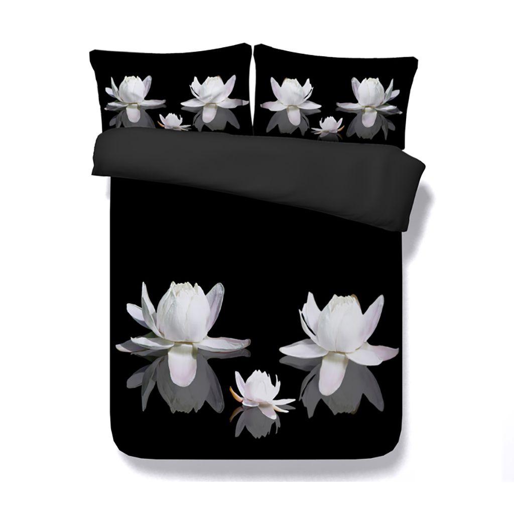 Lótus Floral Capa de Edredão 3 Peça Meninas Conjunto De Cama Com 2 Travesseiros Shams Flores Cama Capa 3D Colcha Design Asiático Branco Rosa preto colcha