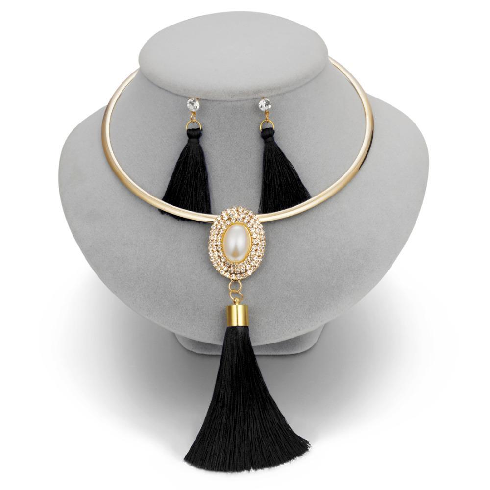 b3617cb0d308 Compre Moda Borla Collar Aretes Conjuntos Para Las Mujeres Boho Oro Chocker  Collar Perlas De Cristal Pendientes Largos De Gota Conjunto De Joyas De ...