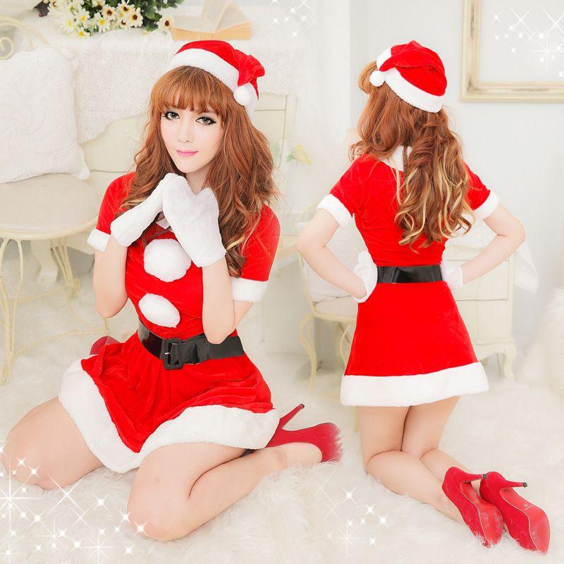 Sexy Santa Claus traje de manga curta meninas do partido uniformes bonitos luvas vestidos brancos Fluff Mulheres Natal Roupa C23484AD