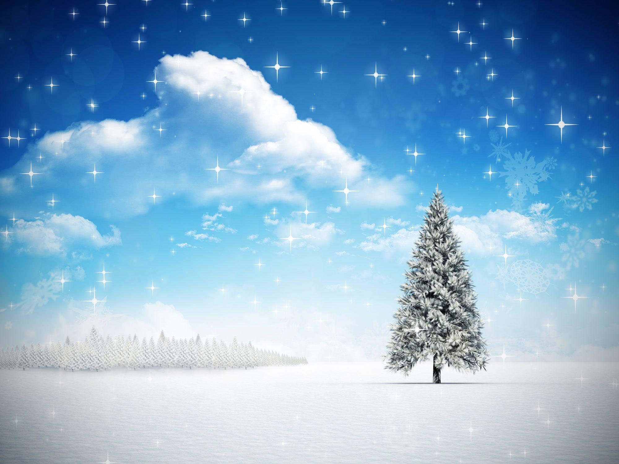 Blue Sky Белых облака Снежинка елочки Vinyl фотографической фоны Рождественские Солнечные обои Photo Booth для зимних студии реквизита