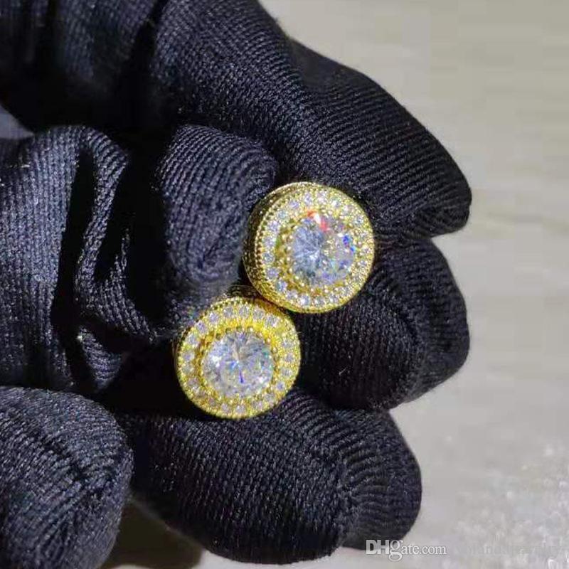 Pendientes de diamante simulado de plata CZ pendientes brilloso alta calidad amarillo oro blanco plateado espumoso CZ oro redondo Para Hombres Mujeres