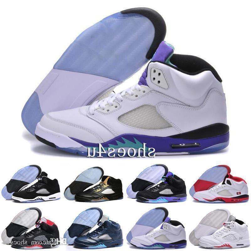 Baloncesto 5 V zapatos para hombre, zapato de entrenamiento Venta al por mayor para hombre atletismo Baloncesto Zapato Space Jam Azul marino Plata Blanca