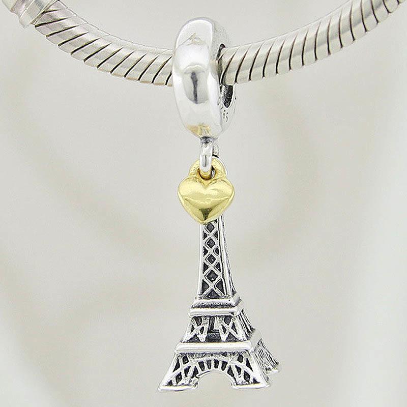 Original Paris Eiffel Tower & Gold Heart Pendant Beads Fit 925 Sterling Silver Bead Charm Pandora Bracelet Diy Jewelry
