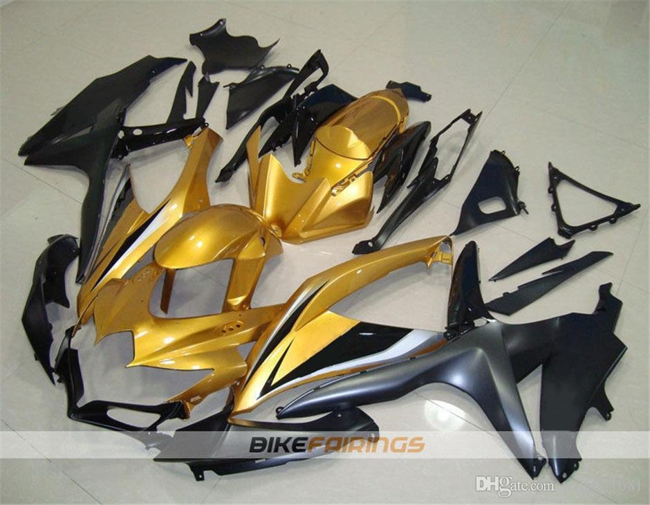 Hochwertige neue ABS Motorrad Verkleidung Kits passen für SUZUKI GSXR600 GSXR750 K8 2008 2009 2010 Karosserie set Freie benutzerdefinierte Gold-Schwarz Grau
