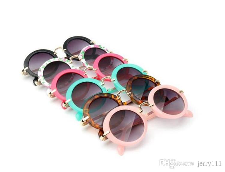 Enfants Retro Sun Sunes Sundes Lunettes de soleil Lunettes de soleil Sunglass Garçons Filles Enfants Round Lunettes de soleil Eyewear 6 Couleurs FJ308