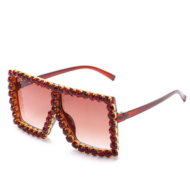 Praça de cristal óculos de sol de luxo marca italiana de óculos de sol Mulheres Praça de cristal Sunglasses Espelho Retro estrela completa Sun Óculos Feminino sX4fI