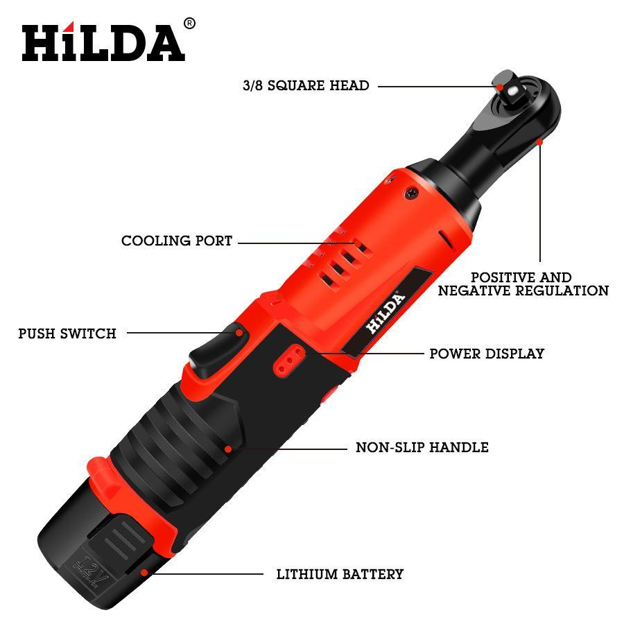 12V Hilda ratchet wrench glove barrel wrench electric truss ratchet lithium electric wrench double battery