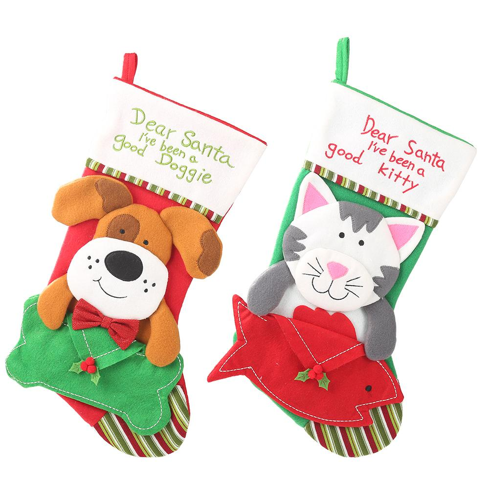 Fun Big Christma Candy Bag Dog Cat Dolls Christmas Decorations for Home New Year Present Packet Santa Claus Kids Christmas Gift