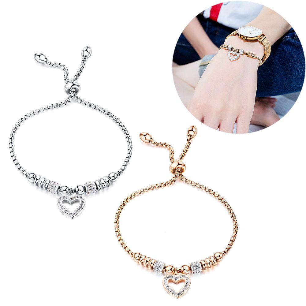 Femmes Charme Bracelets En Acier Inoxydable Cubique Zircone Bracelet Bracelet Amour Coeur Forme Pendentif Manchette Bracelet Bijoux De Mode Cadeau pour Femme