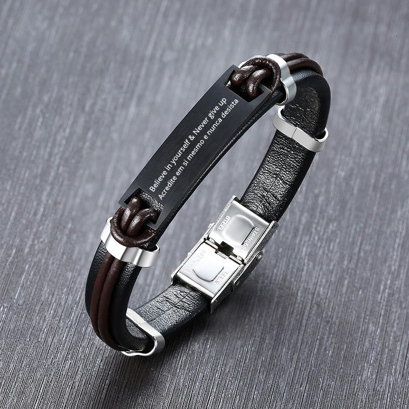 Personalized Men's Leather ID Bracelet Stainless Steel Free Engraving Inspiration Initials Name Date Boyfriend Gifts