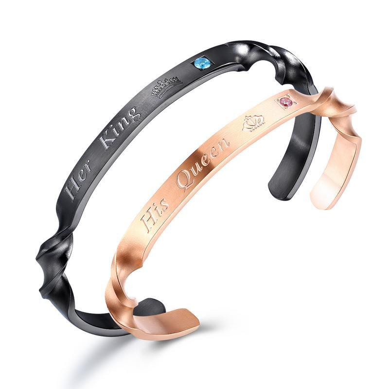 New Design Her King His Queen Couple Bangle Titanium Stainless Steel Lover Rose Gold Color Anniversary Gift Lady Bangle Bracelets Jewelry