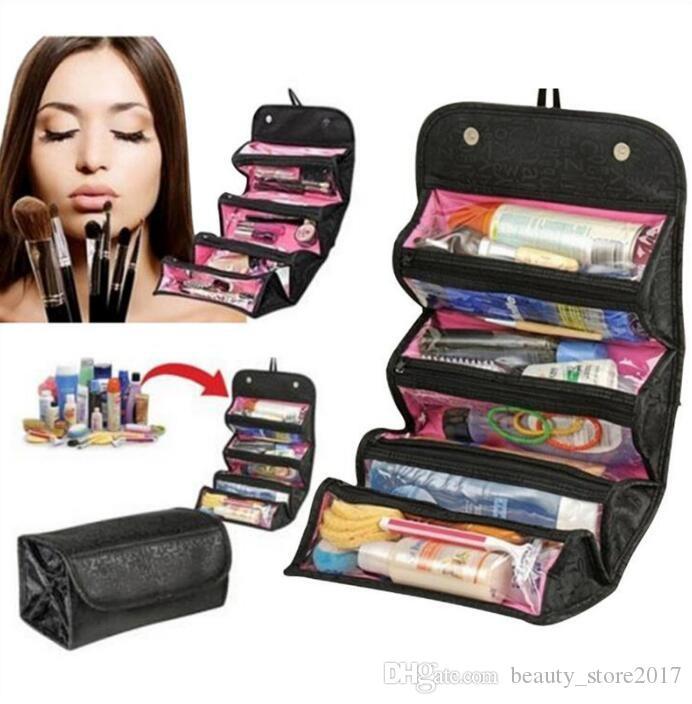 ROLL-N-GO Cosmétiques Organisateur Trousse À Maquillage Accessoires De Toilette À Poches Compartiment Voyage Kit Roll-N-Go Bijoux Sacs Chaude Populaire