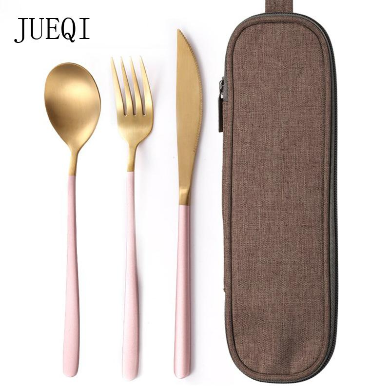 Jueqi Set Cutlery Stainless Steel 304 Utensils Kitchen Dinnerware Include Knife Fork Teaspoons Camping Tableware Bag C19021401