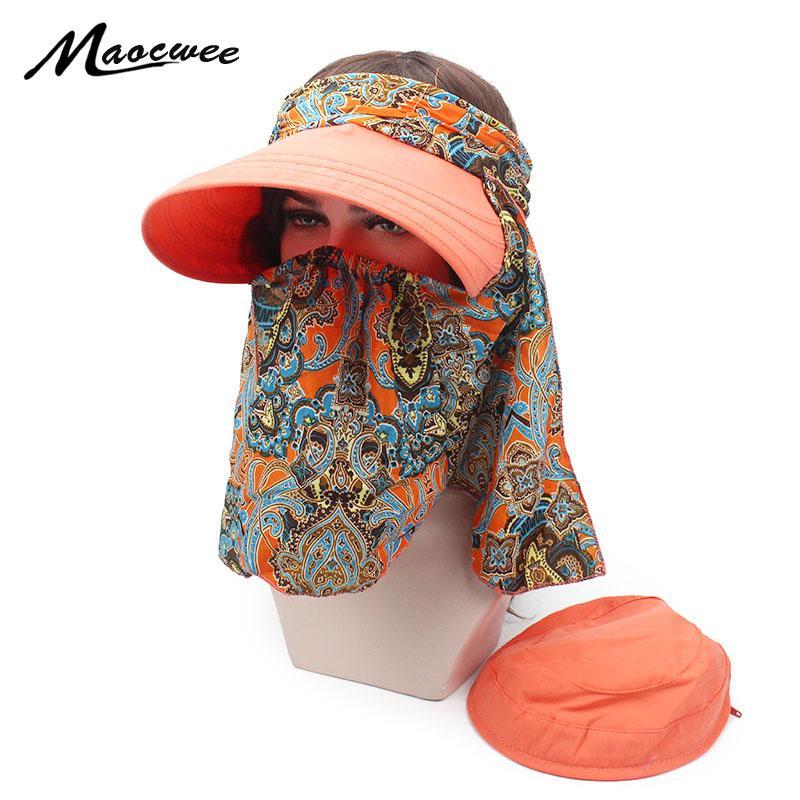 Nuevos Grandes Sombreros de verano para las mujeres Climb viseras Mountain Jungle Senderismo anti-UV PAC cubiertos cuello de la cara sombrero de la playa omnibearing ultravioleta del sombrero para el sol