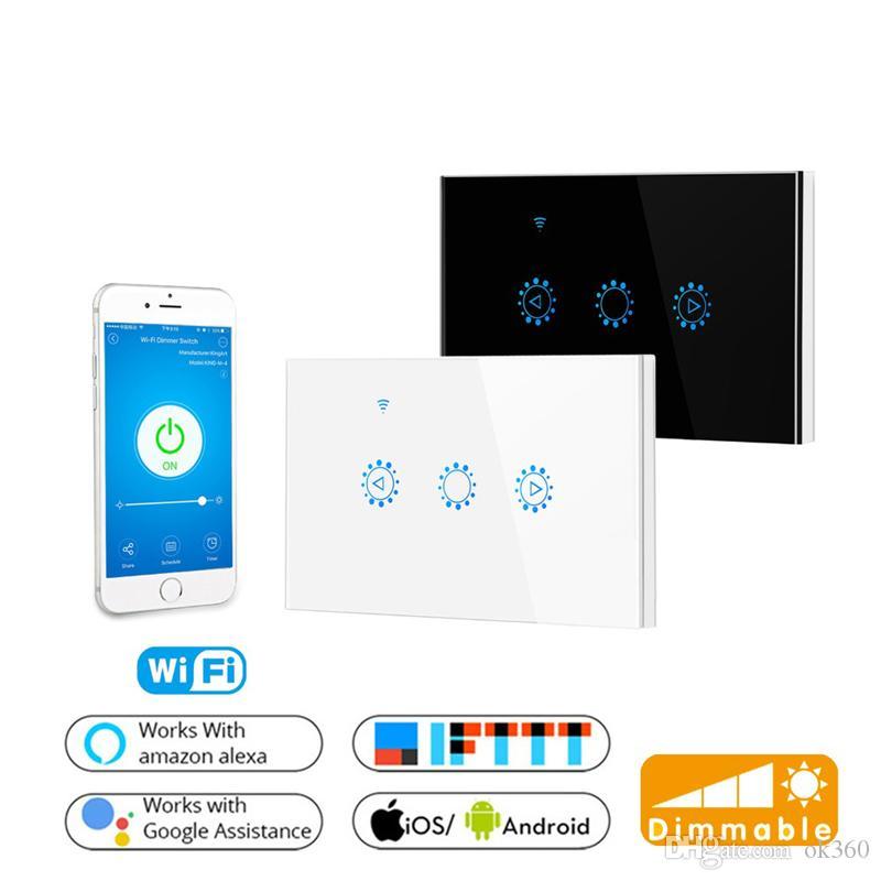 Smart Wifi Touch Switch Interrupteurs muraux en verre avec gradateur intégré Panneau de commande Interrupteur mural Support Ewelink APP Alexa Google Page d'accueil US EU Dimmérisation Blanc Noir