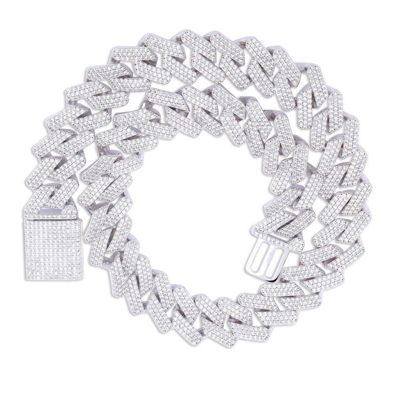 Iced Out Chains Hip Hop Jewelry Men completa cruz colar pingente de diamante de 3 cores Micro Cubic Zirconia Copper Set Colar de diamantes Pão Diam