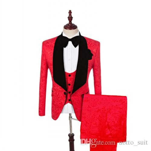 Jacquard Groom Tuxedos Red Mens Wedding Tuxedos Black Velvet Lapel Side Vent Man Jacket Blazer Excellent 3 Piece Suit(Jacket+Pants+Vest+Tie)