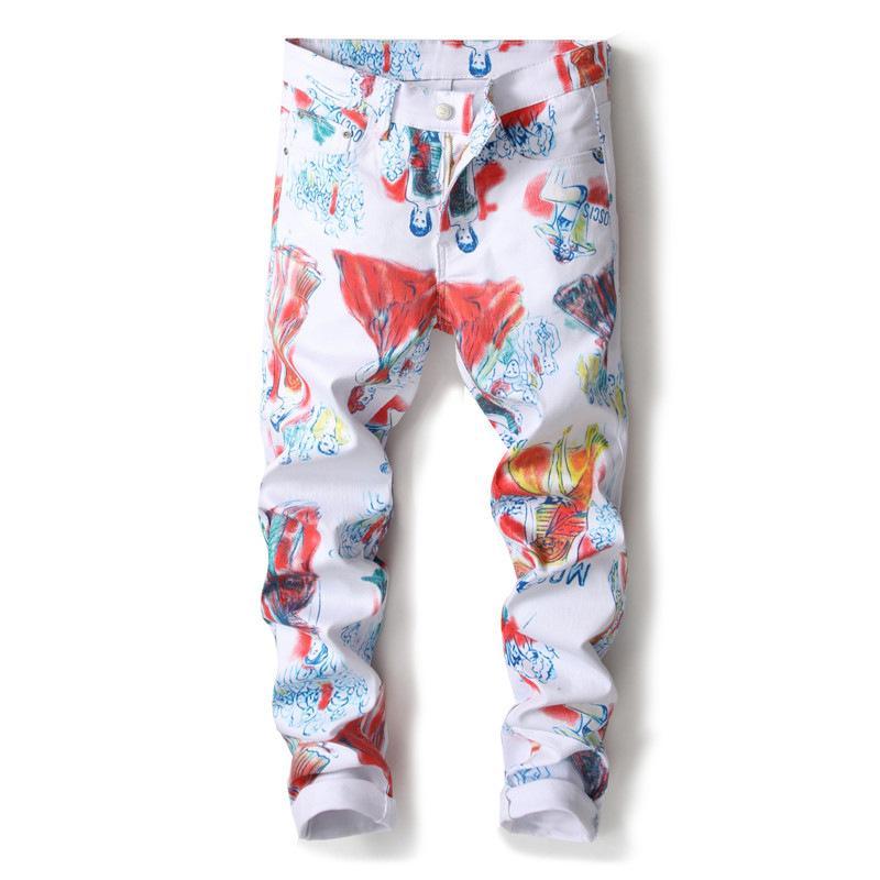 style européen et américain de la beauté de la mode masculine dessin jean imprimé 3D lettres Slim peint pantalons en denim extensible