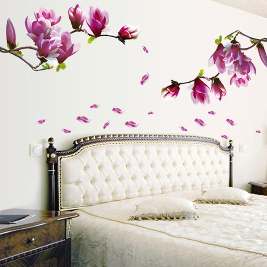 Creative PVC Wall Stickers Fresh Magnolia Decals for Living Room Bedroom TV Wallpaper Large Removable DIY Art Home Decoration