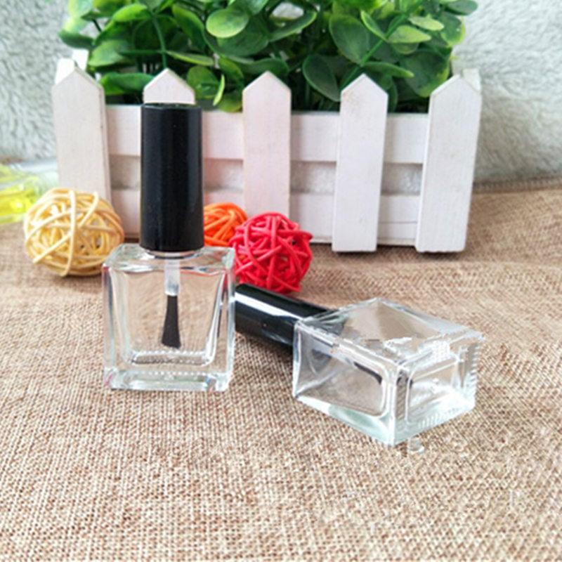 10ml Lucency Empty Glass Nail Polish Square Bottle Liquid Blusher Paint Glue Gel Crystal Nail Art Packaging Containers 50pcs