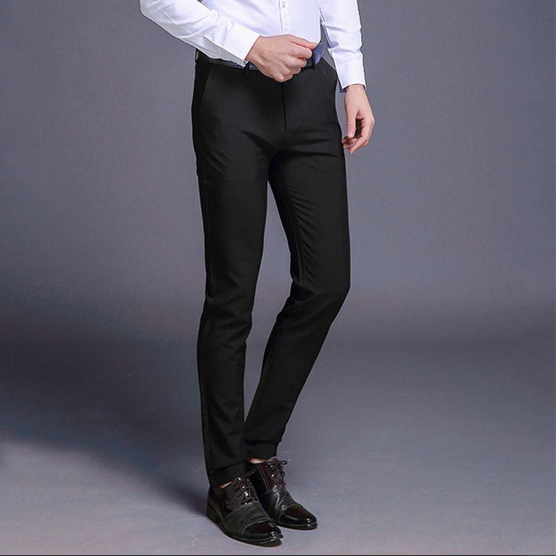 Compre Pantalones De Vestir De Los Hombres Stretch Slim Fit Flacos Traje Solido Pantalones Casual Fashion Derecho Longitud De Negocios Pantalones Completa A 27 01 Del Luote Dhgate Com