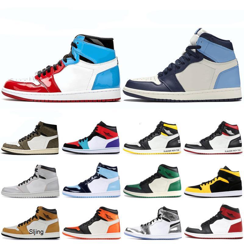 I più nuovi 1 1s OG scarpe da basket uomini UNC Mocha frantumato backboard Toe Fearless Corte raso viola nero mens scarpe da ginnastica di sport atletici