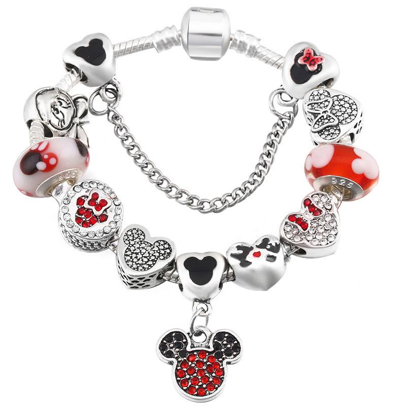 Hot ins fashion luxury designer bow cartoon diy sparkling diamond crystal European beads charms bracelet for woman girls Christmas gift