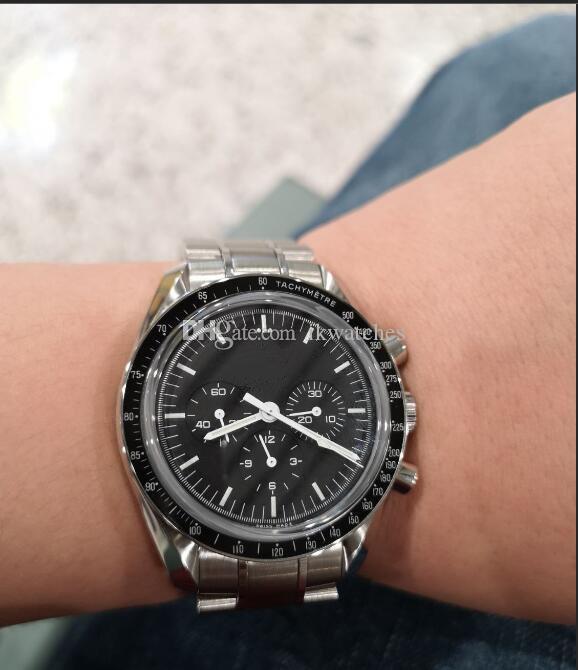 남자 스테인레스 스틸 팔찌 검은 얼굴 기계식 시계 자동 이동을위한 뜨거운 판매 시계는 369 시계