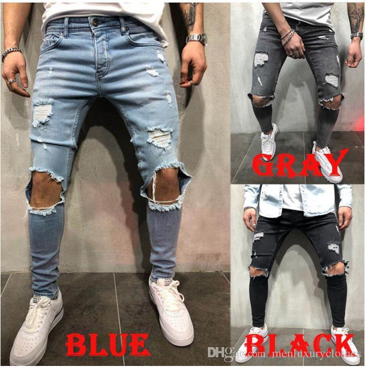 Tasarımcı Diz Delik Tasarımcı Erkek Kot Uzun Pantolon Mavi Gri Siyah Slim Fit Biker Jeans Yırtık
