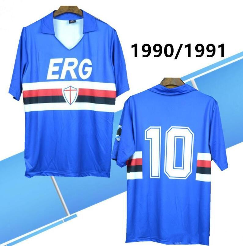 Ретро 1990 991 Sampdoria Mancini трикотажные изделия Vialli Rshirts Italia Calcio Maglia футболки футбол Praet Linetty Praet Jeison Murillo Gabbiadini