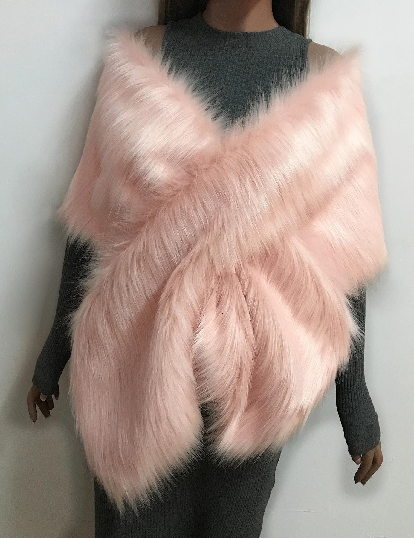 Fashion Fur Shawl Wedding Wrap Formal Cheongsam Dress Oversized Scarf Soft Fox Lady Winter Fake Collar Outerwear Bride Cape T191112